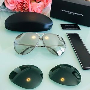 Porsche Design Accessories - NWT Porsche Design 66mm P8478 B Silver Sunglasses